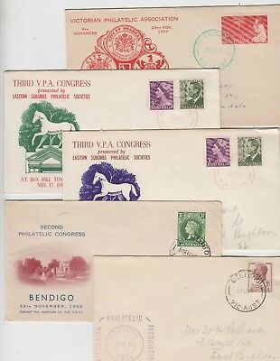 Stamps Victorian Philatelic Council group 15 covers each year exhibit 1954-69