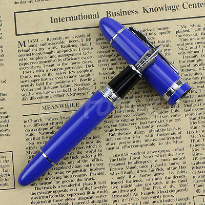 New Deluxe Steel Jinhao 159 Blue And Silver Trim Medium Nib Smooth Fountain Pen