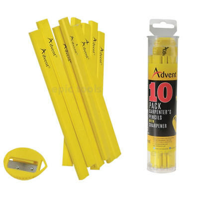 10x CH Hanson Medium Carpenters/Carpentry Joiners Builders Pencils + Sharpener