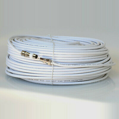 50M White RG6 Magic Eye RF Coax Cable For Sky, TV Link  Aerial Wall Socket