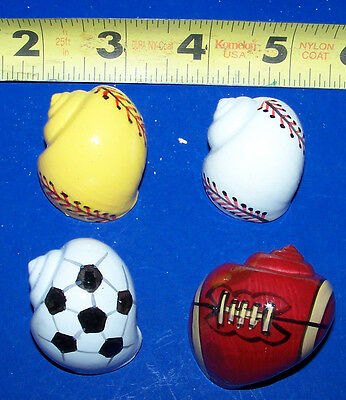 4 Hermit Crab Shells Painted Sports Balls Crafts Fish Tank  Display Decor