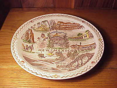 "Beautiful Vintage Vernon Kilns Pottery 10 3/8"" State Plate - New Mexico"