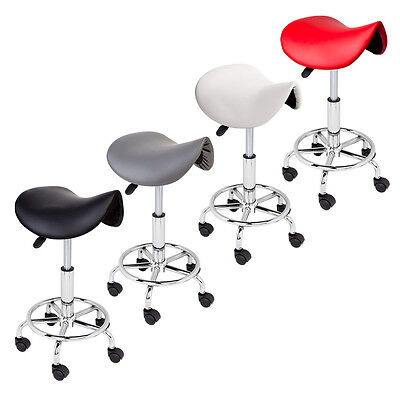 Adjustable Salon Stool Hydraulic Saddle Rolling Chair Tattoo Facial Massage Spa