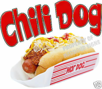 "Chili Dog Hot Dog Decal 10"" Concession Food Truck Van Stand Cart Vinyl Sticker"