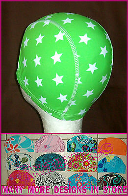 Adults LYCRA SWIMMING CAP - GREEN WITH STARS -Gorgeous Swim Hat ADULT - NEW