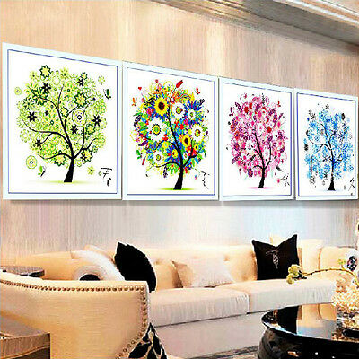 Cross Stitch Set Embroidery Kit 3D Print Seasons Fortune Tree Home Bedroom Decor
