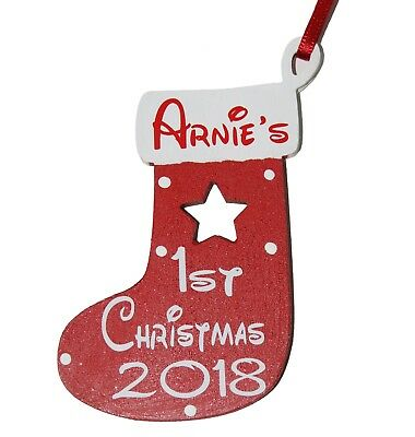 Personalised Baby's 1st Christmas 2016 Wooden Stocking Christmas Tree Decoration