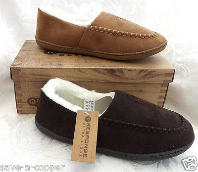 Mens Brown Luxury Fur Lined Ultra Light Slippers Moccasins House Shoes Size 7-12