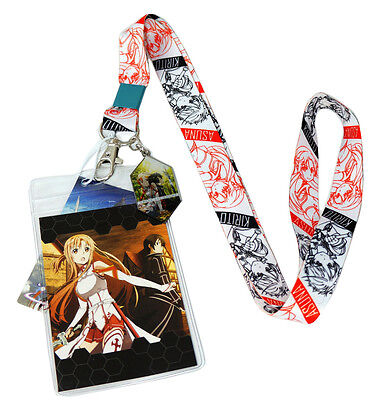 Sword Art Online Kirito & Asuna Lanyard w/ Badge ID Holder & Charm Official