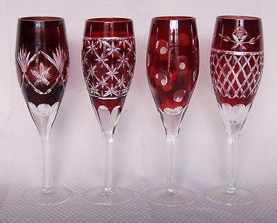 Lovely 4 Czech Ruby Cranberry Cut-To-Clear Different Patterned Champagne Glasses