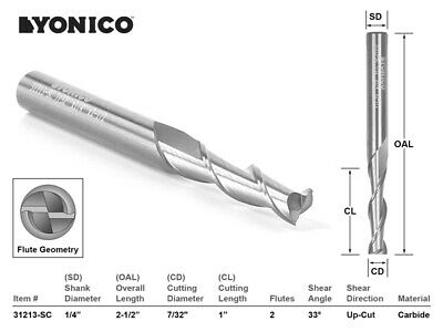 "7/32"" Dia. Upcut Spiral End Mill CNC Router Bit - 1/4"" Shank - Yonico 31213-SC"