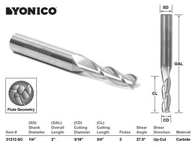 "CNC Router Bit Up Cut Solid Carbide 3/16"" X 3/4"" X 1/4"" X 2"" - YONICO 31312-SC"