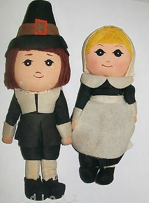 "Rare Vintage Dakin Dream Pets Thanksgiving Pilgrim Dolls 8"" Girl Doll 10"" Boy"