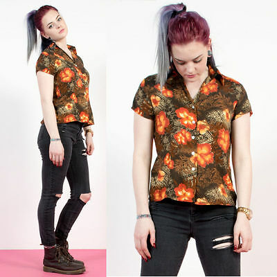 Womens Vintage Floral Hawaiian Shirt Blouse Orange Open Collar Short Sleeve 8