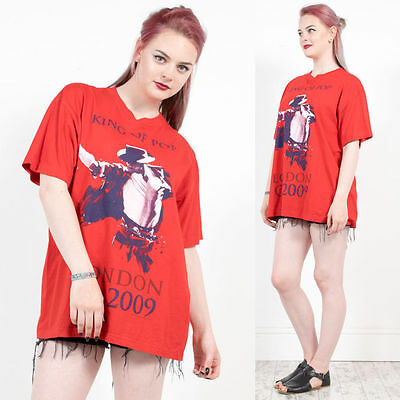 Womens Vintage Michael Jackson King Of Pop Red Short Sleeve Crew Neck T-Shirt 18