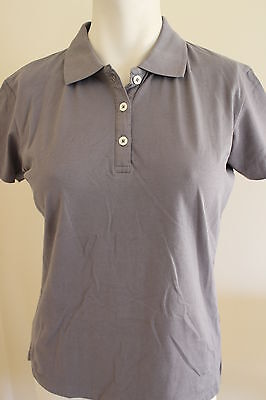 Ladies Short Sleeve Cotton Elastane/Stretch Golf Polo Shirt Large 14 Steel Grey