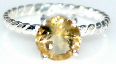Citrine Sterling Silver Stack Ring .925 Cable Band Sizes L 5½ to V 10½ Solitaire