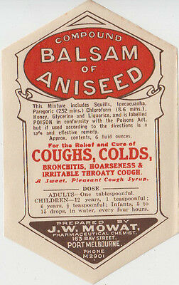J W Mowat chemist Port Melbourne Victoria Balsam & Aniseed advertising label