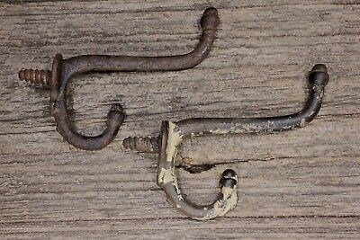2 coat hooks screw in type old school farm house rustic primitive paint 3 1/8""