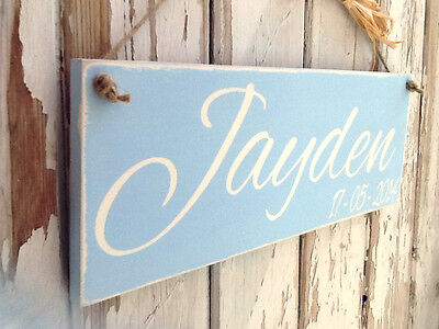 Hand Painted In Chalk Paint Children's Name & Date Plaque