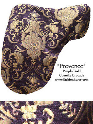 "FANCY ""PROVENCE"" PURPLE GOLD CHENILLE  DRESSAGE SADDLE COVER  baroque horse"