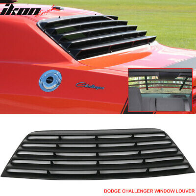 Fit For 08-16 Dodge Challenger Window Louver Rear Cover Unpainted Black PUR