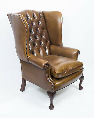 Leather Chippendale Wing back Chair Armchair yellow tan