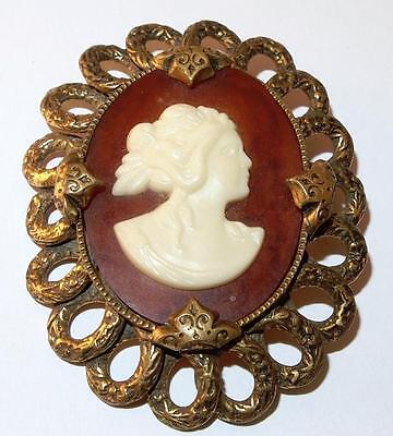 Vintage Victorian Revival Faux Tortoise Shell Lucite Cameo Repousse Brooch Pin