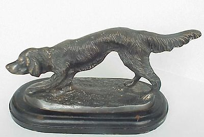 Antique Pointer Hunter Dog Bronze / Brass Statue