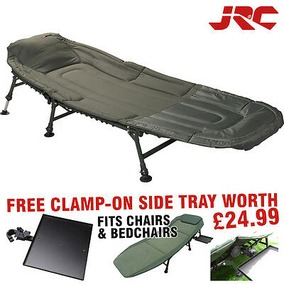 JRC Contact 3 Leg Bedchair + Free Clamp On Side Tray Festival Camping - 1294362