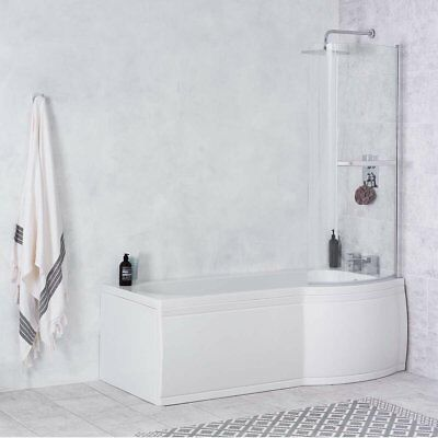 New P Shape Shower Bath 1675mm with Front Panel & Screen