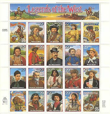US #2869, 1994 29c Legends of the West - Corrected, Full Pane/Sheet Unused NH