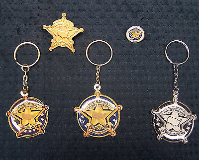 Lot of 5 Sheriff Deputy Association 3 Keychains & 2 Pins
