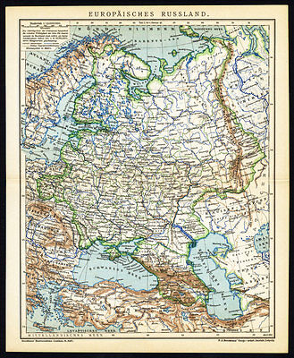 Antique Map-EUROPEAN RUSSIA-EUROPE-Meyers-1895