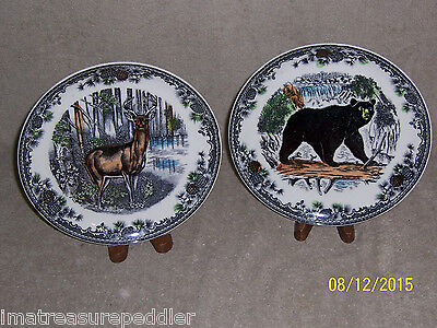 "Japan 2 Wildlife Scenes 9 1/8"" Plates Deer Bear"