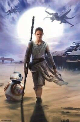 FORCE AWAKENS ~ REY SUN 22x34 MOVIE POSTER Star Wars Episode 7 BB-8 Daisy Ridley