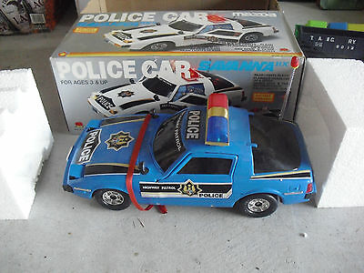 BIG Vintage 1980s Apple Battery Operated Mazda Police Car in Box