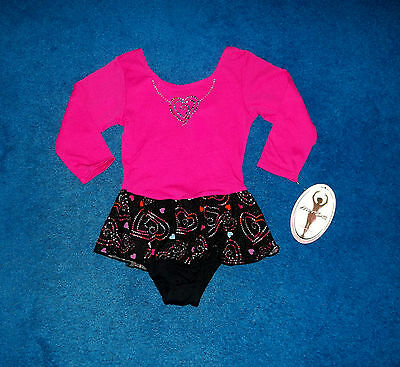 Girls Pink Blue Black Moret Dance Skating Leotard Outfit Size 6 - 7 Small Nwt