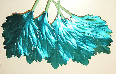Vtg Xmas TURQUOISE Metallic Foil Millinery Flower Wreath Craft Supply Leaves RR