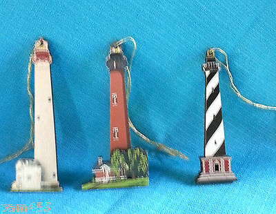 Shelia's Collectibles Set of 3 Lighthouse Ornaments