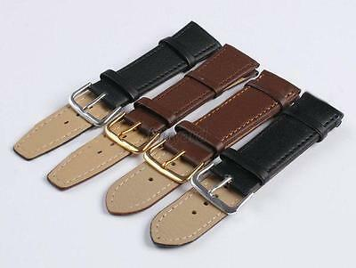 Genuine Leather Watch Strap Band Women Mens Black Brown 12 14 16 18 20 22 mm F80