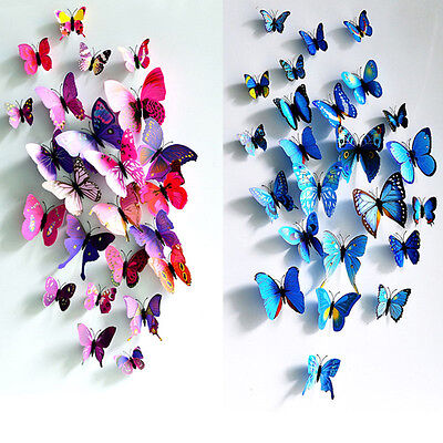 12pcs 3D Butterfly Art Wall Decal Home Decor Room Butterflies Stickers Removable