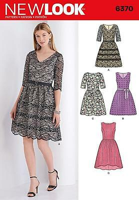 NEW LOOK SEWING PATTERN Misses' Dress with Bodice Variations SIZE 8 - 18 6390