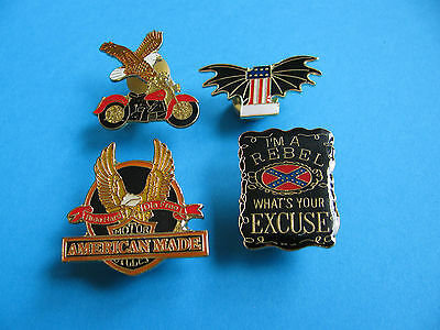 4, Motorcycle pin badges, Enamel, Unused. American Theme.