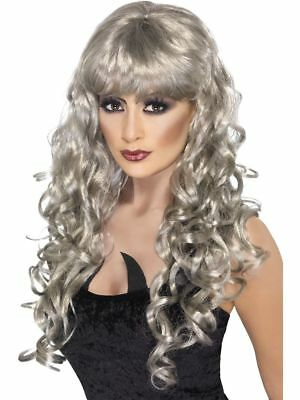 Silver Long Curly Ladies Fancy Dress Wig Witches Costume Accessory