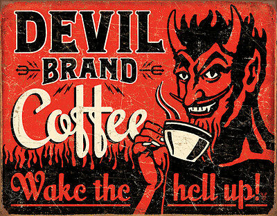 Devil Brand Coffee Tin Sign - 16x12.5