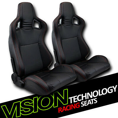 JDM MU Blk PVC Leather w/Red Stitch Reclinable Racing Bucket Seat+Slider L+R V12