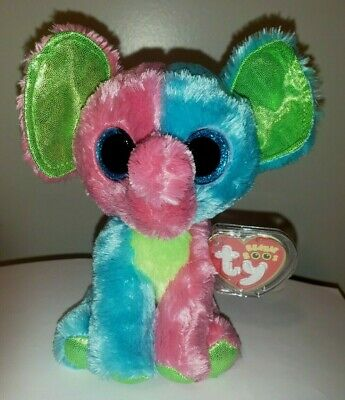 """Ty Beanie Boo's ~ ELFIE the 6"""" Muti Color Elephant ~ 2014 NEW ~ Exclusive ~ MINT"""