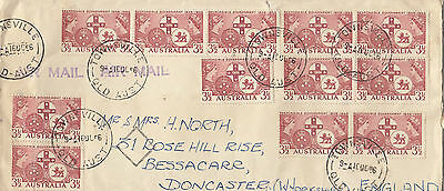 Stamps Australia 3&1/2d responsible government x 12 on cover airmail to England