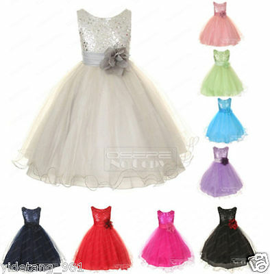 Straps Satin Formal Dance Party Christmas Flower Girl Dress Bridesmaid Dresses &